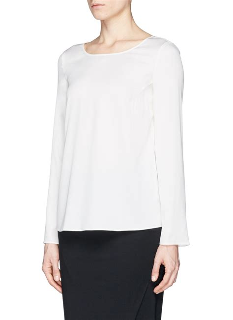 silk charmeuse blouse armani silk charmeuse blouse in white lyst