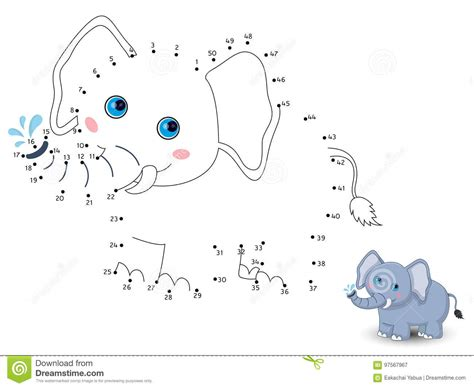 Elephant Connect The Dots And Color Cartoon Vector