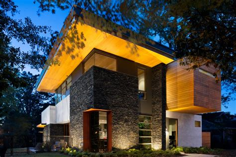 cantilevered modern home  stacked stone  fresh