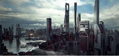 Deviantart Cityscape Scifi Artstation Futuristic Cyberpunk Pham