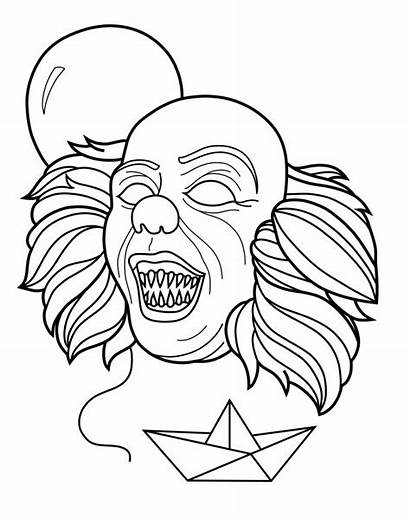 Pennywise Coloring Scary Clown Creepy Printable Drawings