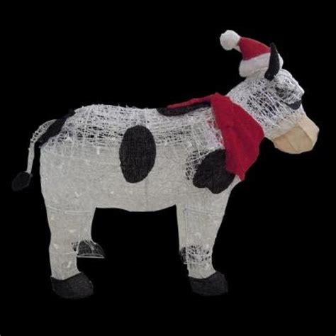 36 in pre lit cow with santa hat ty294 1311 1 the home