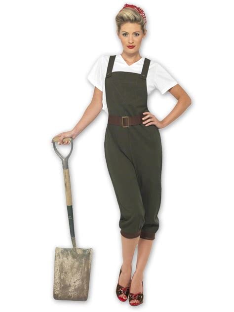 LADIES1940s WW2 LAND GIRL WORLD WAR 2 COSTUME FANCY DRESS