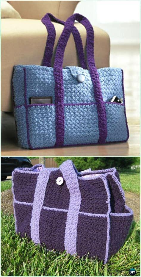 crochet  pocket carryall tote  pattern   crochet diaper bag crochet bag