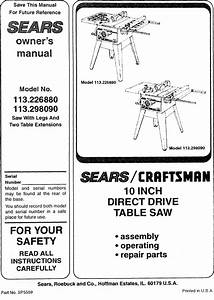 Craftsman 113226880 User Manual 10 Table Saw Manuals And