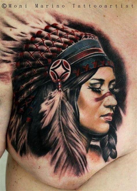 Tatouage Femme Avec Une Chapeau Indien Inkage
