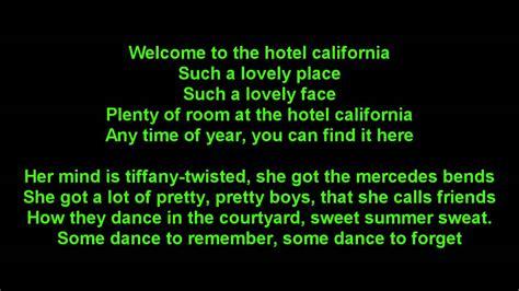 eagles hotel california true hd onscreen lyrics