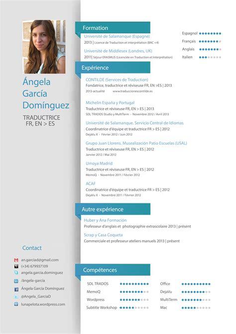 Exemple De Cv En Franàçais by Cv Angela Fran 231 Ais Traducciones Contilde