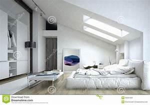 Chambre à Coucher Architecturale à L'intérieur De La Maison Blanche Illustration Stock Image