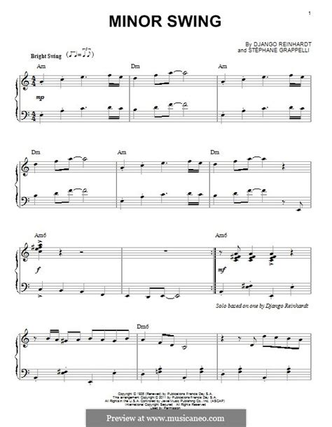 minor swing score minor swing by d reinhardt sheet on musicaneo
