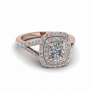 Cushion cut diamond double halo engagement ring in 14k for Halo engagement rings with wedding bands