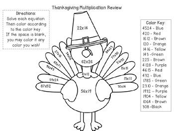 multiplication color by number thanksgiving theme by willcut