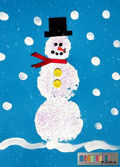 sponge stamped snowman craft it is home and crafts 476 | 9ec1ad80db18ee6a1e261e1a6892539b