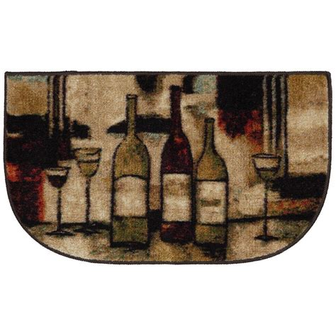 Kitchen Rugs At Home Depot by Wine And Glasses Brown 18 In X 30 In Slice Kitchen Rug