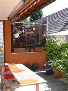 balkon kletterpflanzen als sichtschutz weidenmatten With französischer balkon mit abtrennung garten terrasse