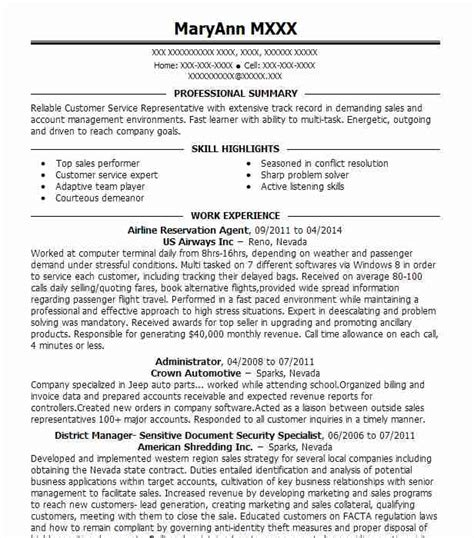 Airline Resume by Airline Reservation Resume Sle Livecareer
