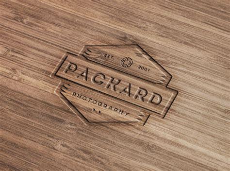wood engraved logo mockup  photoshop