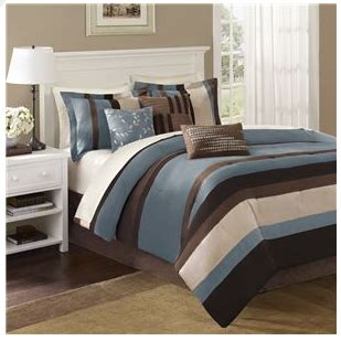 Post Image  Blue  Brown Bedding Microsuede  Pc