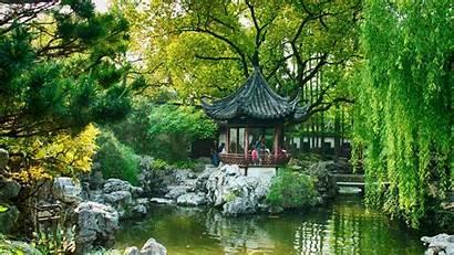 China Desktop Hintergrundbilder Park Windows Teich Kiefer