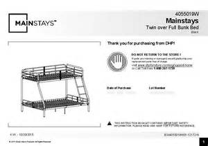 mainstays twin over full bunk bed walmart com