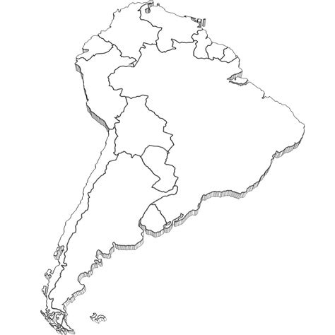 South America Map Coloring Page Sketch Coloring Page