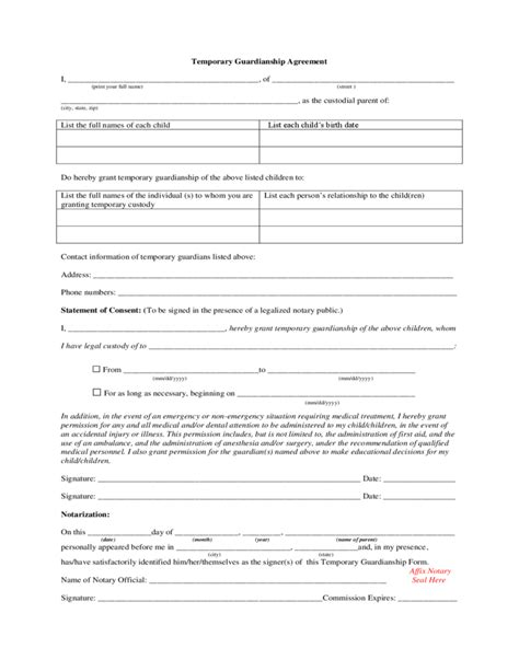 alabama temporary custody forms temporary guardianship agreement alabama free download