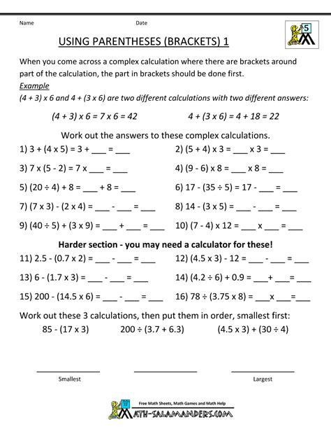 Mathworksheets5thgradeusingparentheses1gif 1,000×1,294 Pixels  Grade 5 Math Pinterest