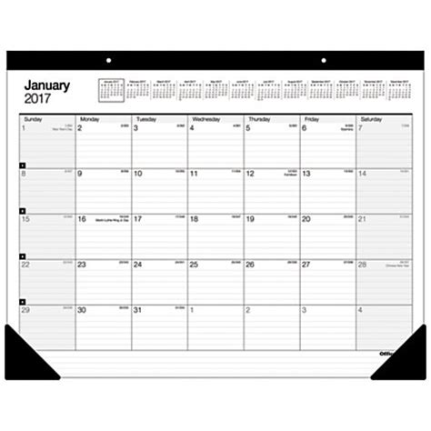 large desk calendar 2017 office depot brand large monthly desk pad calendar