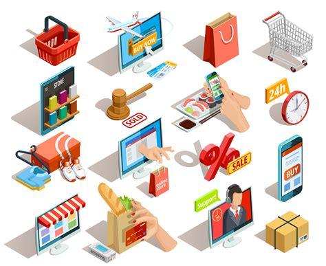 shopping  commerce isometric icons set