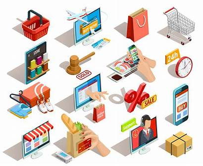Commerce Shopping Vector Isometric Icons Icon Ecommerce