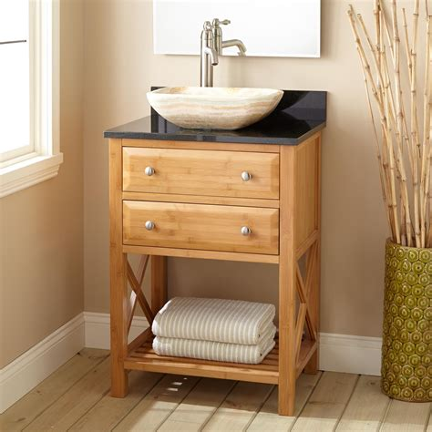 narrow depth clinton bamboo vessel sink vanity bathroom