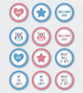 INSTANT DOWNLOAD gender reveal owl cupcake topper/ printable