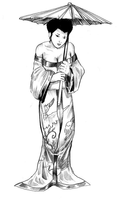 Geisha Gal by cluedog on DeviantArt | Japanese drawings