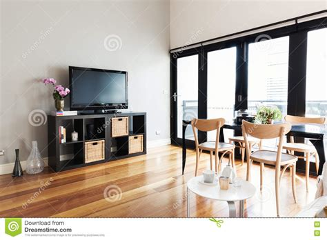 Apartement Living Room : Modern Apartment Living Room With Bi Fold Door To Balcony