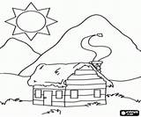 Coloring Cabin Mountain Pages Log Cabins Sketch Template Printable Bergen Sketches Woods Para Wooden Colorir Cabana Casa Draw sketch template