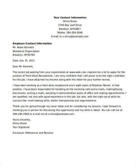 9 receptionist job application letters free word pdf