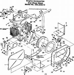 Engine Accessories And Sheet Metal Diagram  U0026 Parts List For Model 580326510 Craftsman