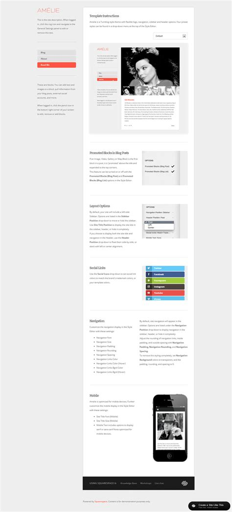 Squarespace Templates With Sidebar by Amelie Read Me Jpg
