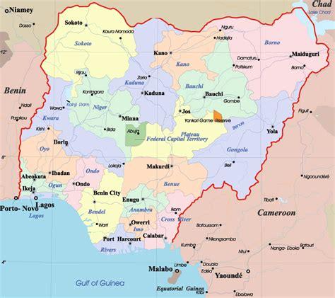 detailed administrative map  nigeria nigeria detailed