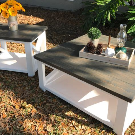 Coffee table decor is easy to do on your own and really adds personality to your living room. X style square coffee table and end table in fancy white and charcoal gray stain. IG @the ...