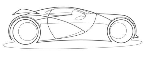Fully Rendered Car With Line Drawing