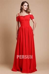 robe elegante rouge epaule denudee manche courte en bijoux With robe epaule dénudée manche longue