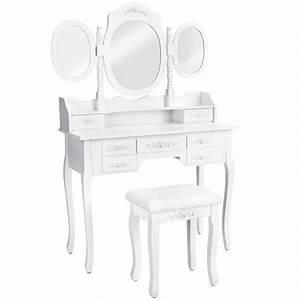 Meuble De Maquillage : coiffeuse meuble table de maquillage secr taire commode avec miroir 3 faces rabattables et 7 ~ Teatrodelosmanantiales.com Idées de Décoration