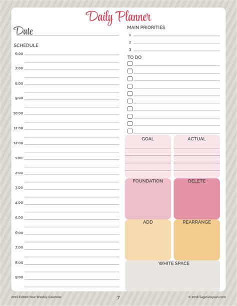 printable worksheet daily planner   sage