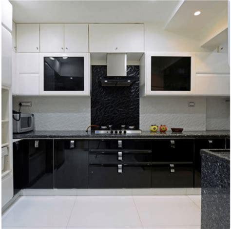 modular kitchens design black glossy finish modular kitchen by designopedia 4257