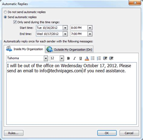 message absence bureau outlook ms outlook set out of office message