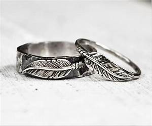 sterling silver boho feather rings pair set his and With hippie wedding ring sets