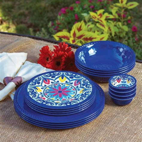 dinnerware melamine dishes plates plastic piece outdoor tableware sets pc bowls indoor plate yellow serving simplysmartliving