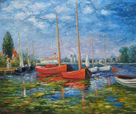Monet Boats At Argenteuil by Framed Boats At Argenteuil Monet Replica Painting