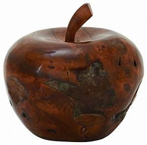 Teak, Wood, Resin, Apple, -, Rustic, -, Decorative, Objects, And, Figurines
